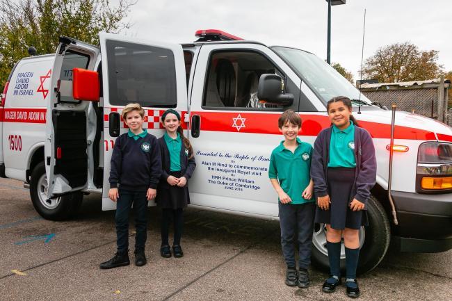 MDA ambulance visits Clore Shalom School in Shenley