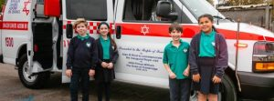 MDA ambulance visits Clore Shalom School in Shenley